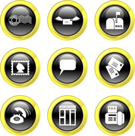 set of communication icons on black glossy buttons isolated on white Stock Photo - 1961478
