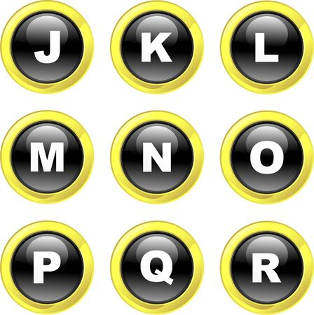 set of alphabet icons on black glossy buttons isolated on white Stock Photo - 1985378