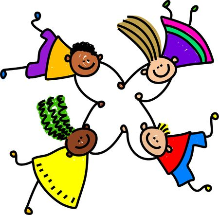 kids holding hands: group of happy mixed race boys and girls holding hands - toddler art series