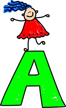 english girl: happy little girl standing on letter A - toddler art series Stock Photo