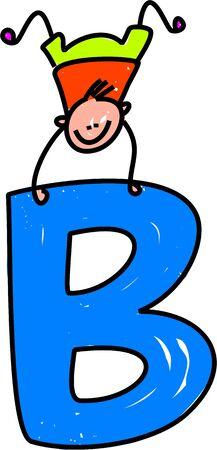 playschool: happy little boy balancing on a letter B - toddler art series