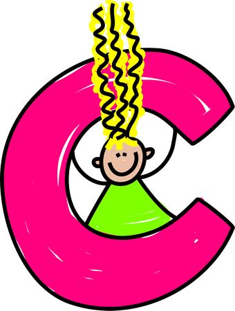playschool: happy little girl with a letter C - toddler art series Stock Photo