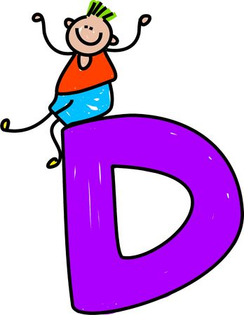 playschool: happy little boy sitting on a letter D isolated on white - toddler art series Stock Photo