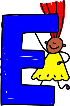 happy little ethnic girl holding a giant letter E - toddler art series photo