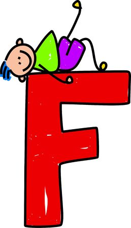 happy little boy lounging on a giant letter F - toddler art series Stock Photo - 2011307