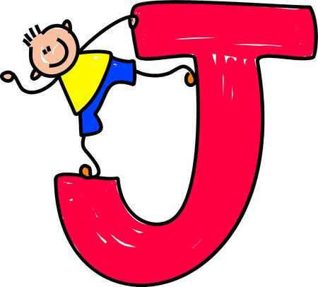 happy little boy standing on a giant letter J isolated on white - toddler art series Stock fotó