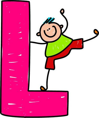 l boy: happy little boy balancing on a giant letter L isolated on white - toddler art series Stock Photo