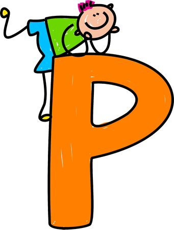 letter p: happy little boy climbing over a giant letter P isolated o white - toddler art series