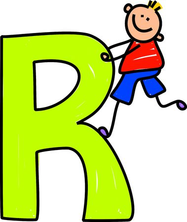playschool: happy little boy climbing over a giant letter R isolated on white - toddler art series