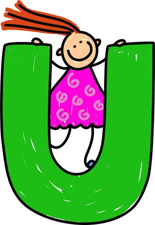 playschool: happy little girl climbing over giant letter U isolated on white - toddler art series Stock Photo