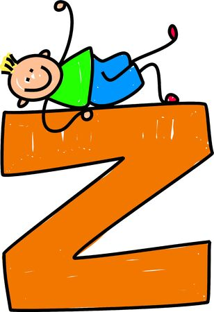 playschool: happy little boy climbing on giant letter Z isolated on white - toddler art series Stock Photo