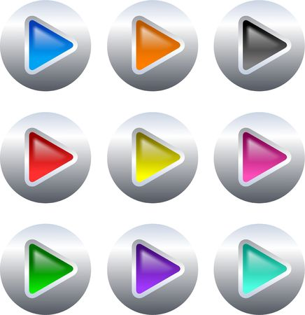 different coloured gel arrow shapes on silver metallic button isolated on white