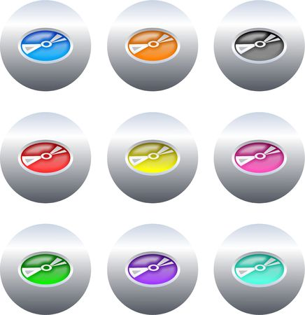 compact disk: set of colourful gel compact disk icons on silver metallic buttons isolated on white