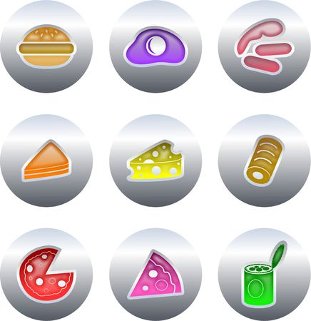 beefburger: collection of colourful fast food buttons isolated on white