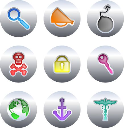 collection of colourful everyday object icons set on silver buttons isolated on white photo