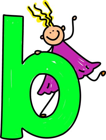 happy little girl climbing on giant letter B - lowercase version photo