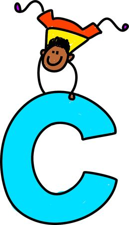 juvenile: happy little ethnic boy balancing on giant letter C isolated on white - toddler art series