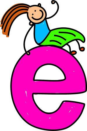 toddler: happy little girl sitting on giant letter E - lowercase version