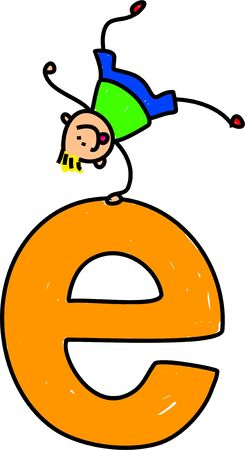 happy little boy balancing with one hand on a giant letter E - lowercase version