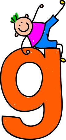 happy little boy climbing over giant letter G - lowercase version Stock Photo