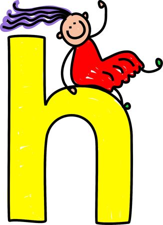 lowercase: happy little girl climbing over giant letter H - lowercase version