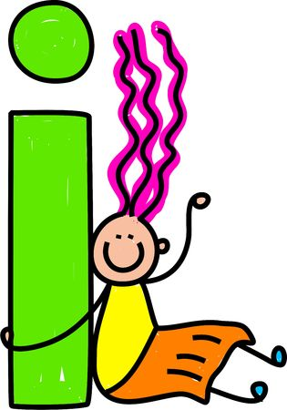 playschool: happy little girl with giant letter I - lowercase version