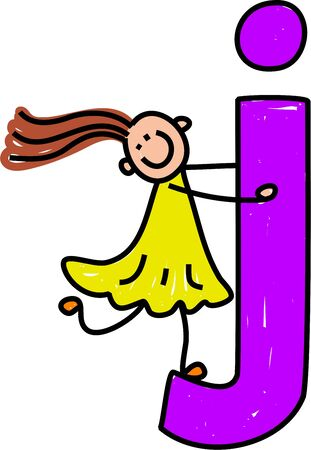 happy little girl climbing over giant letter J - lowercase version photo