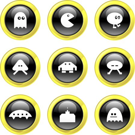 collection of cute gaming icons set on black glossy buttons Stock Photo - 2114945