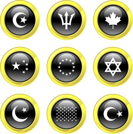 collection of flag icons set on black glossy buttons photo