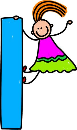 happy little girl climbing over big letter L - lowercase version photo