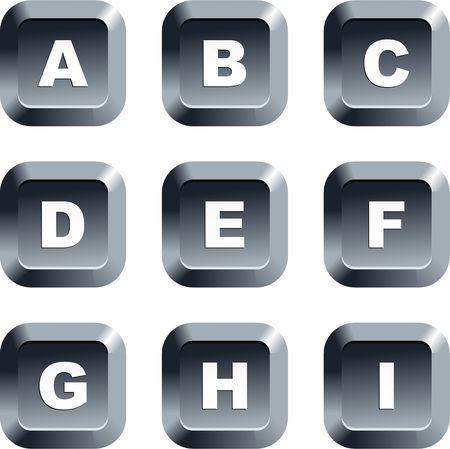 Collectie van alfabet pictogrammen instellen op toetsenbord stijl knoppen Stockfoto - 2118167