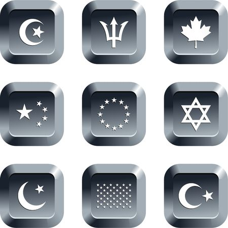 collection of flag icons set on keyboard style buttons photo