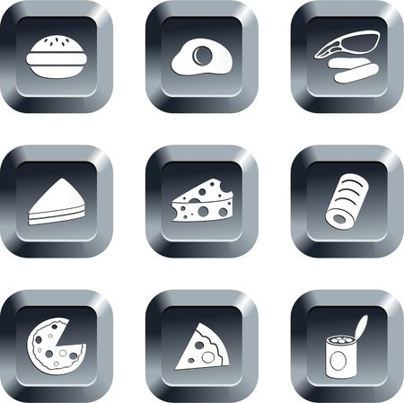 edibles: raccolta di icone alimentare fissato a tastiera stile pulsanti  Archivio Fotografico