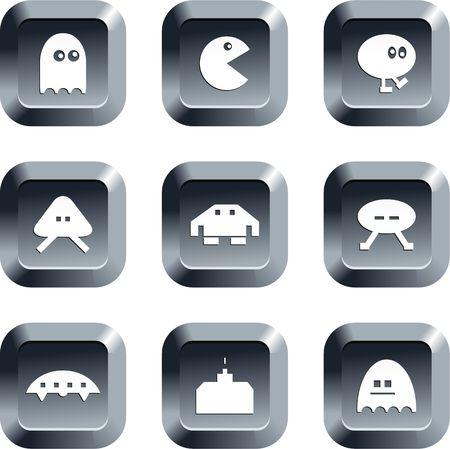 invaders: colecci�n de iconos de los juegos de azar establecidos en los botones del teclado de estilo