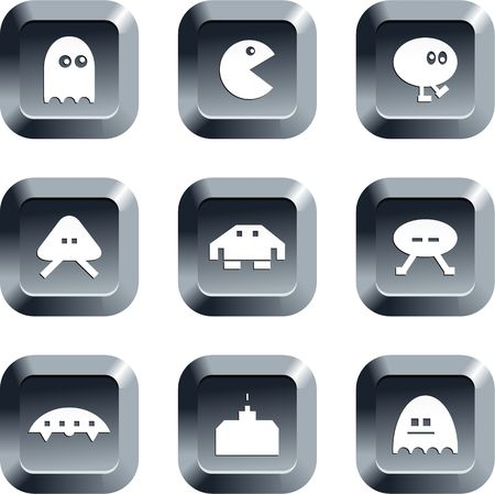space invaders game: collection of gaming icons set on keypad style buttons