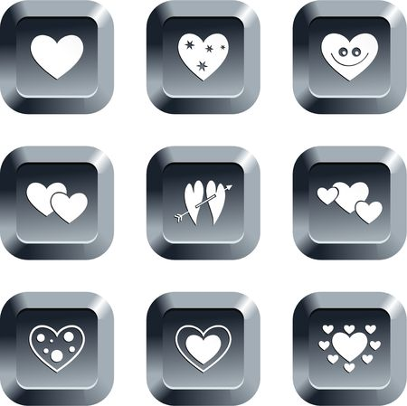 keypad: collection of heart icons set on keypad style buttons