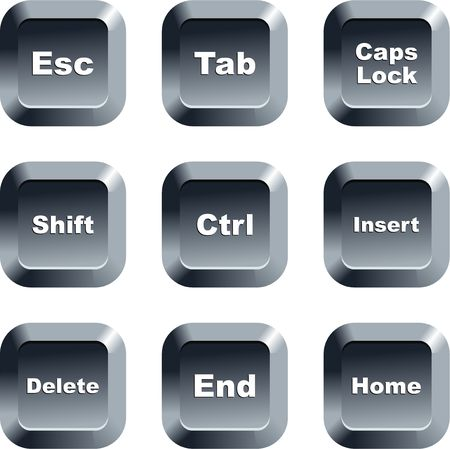 collection of keyboard message buttons isolated on white photo