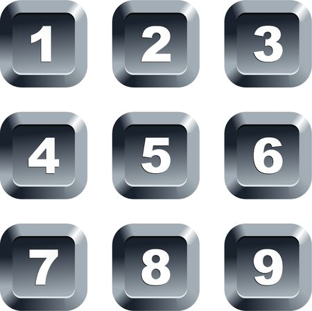 keypad: collection of numbers set on keypad style buttons isolated on white Stock Photo