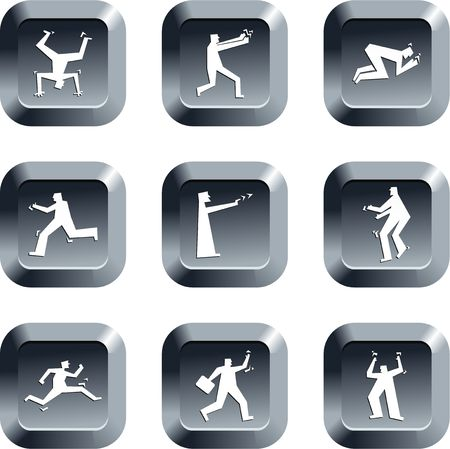 headstand: collection of people in action icons set on keypad style buttons