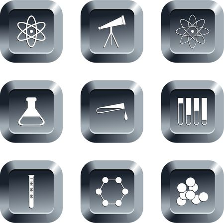 keypad: collection of science icons set on keypad style buttons