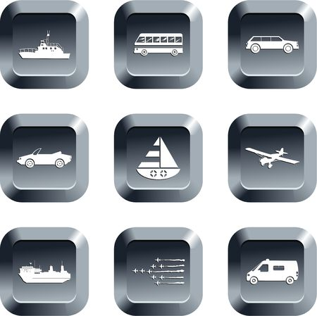 collection of transport icons set on keypad style buttons Stock Photo - 2272904