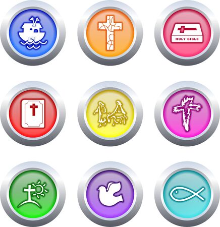 collection of very colourful Christian buttons isolated on white photo