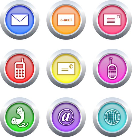 email contact: collection of very colourful communication buttons isolated on white Stock Photo