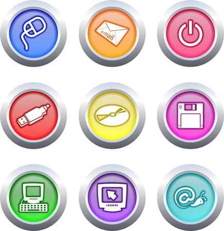 collection of very colourful computer buttons isolated on white photo