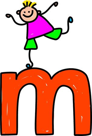 happy little boy climbing over giant letter M - lowercase version Stock Photo
