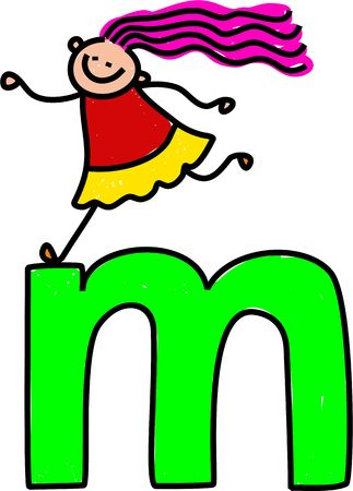 happy little girl climbing over giant letter M - lowercase version