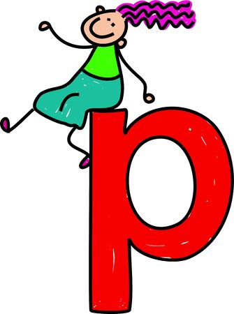 happy little girl sitting on giant letter P - lowercase version photo