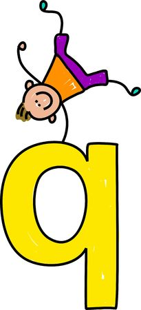 happy little boy balancing on top of giant letter Q - lowercase version photo