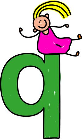interact: happy little girl sitting on giant letter Q - lowercase version Stock Photo