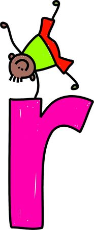 playschool: happy little ethnic boy climbing over giant letter R - lowercase version